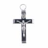 Religious Wood Cross Black/ Nickle 20x34mm with ring Small